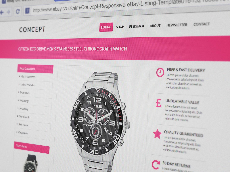 CONCEPT Responsive MultiPurpose EBay Listing Template Finest Design - Free responsive ebay template