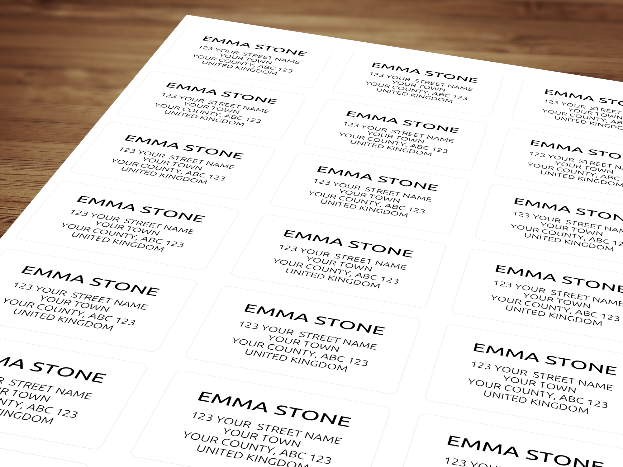 Personalised return address labels clean modern design
